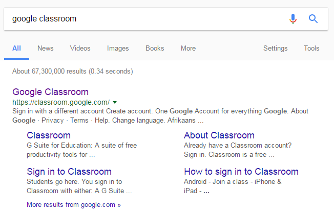 google classroom search